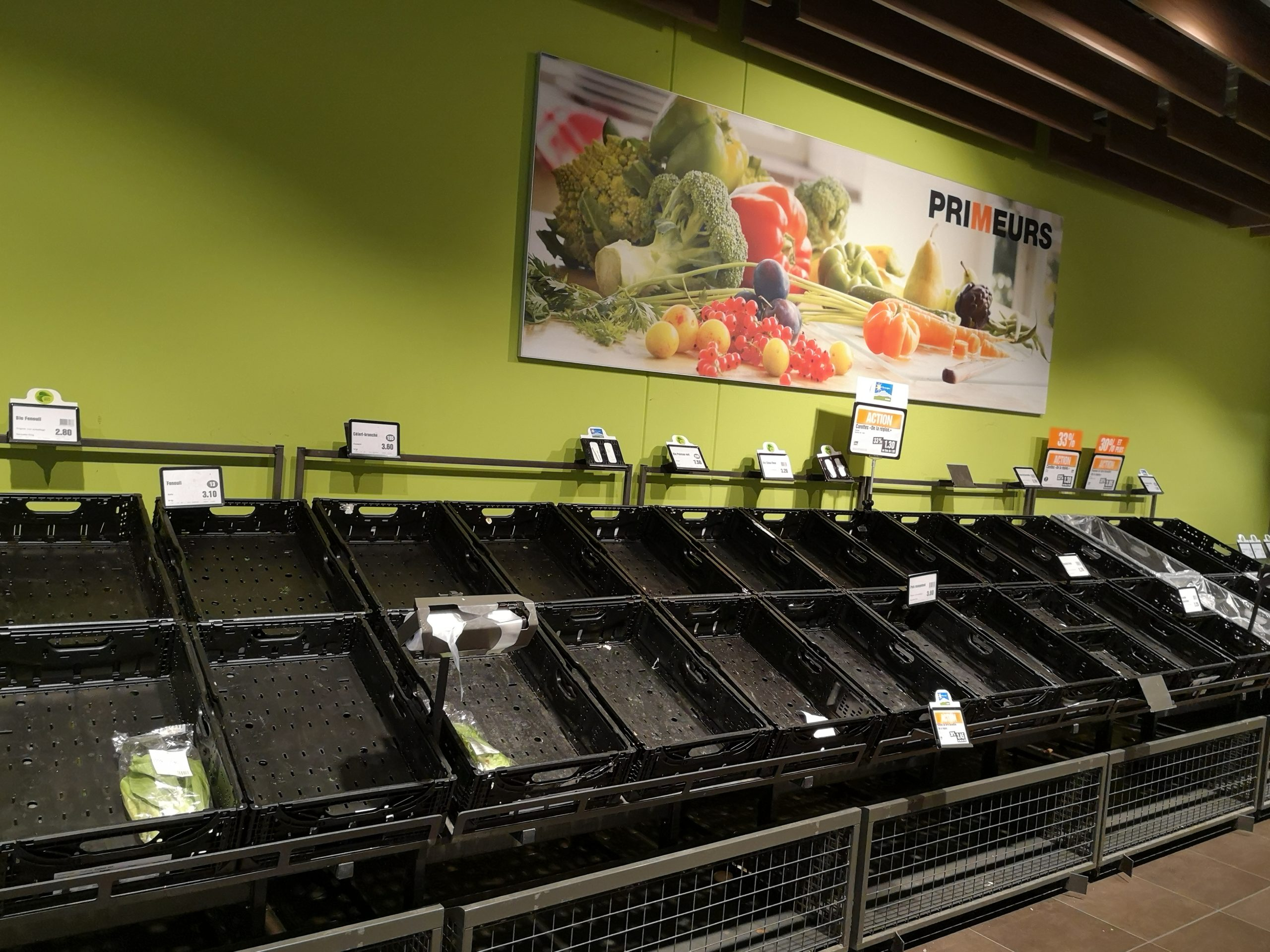 Empty shelves at the supermarket