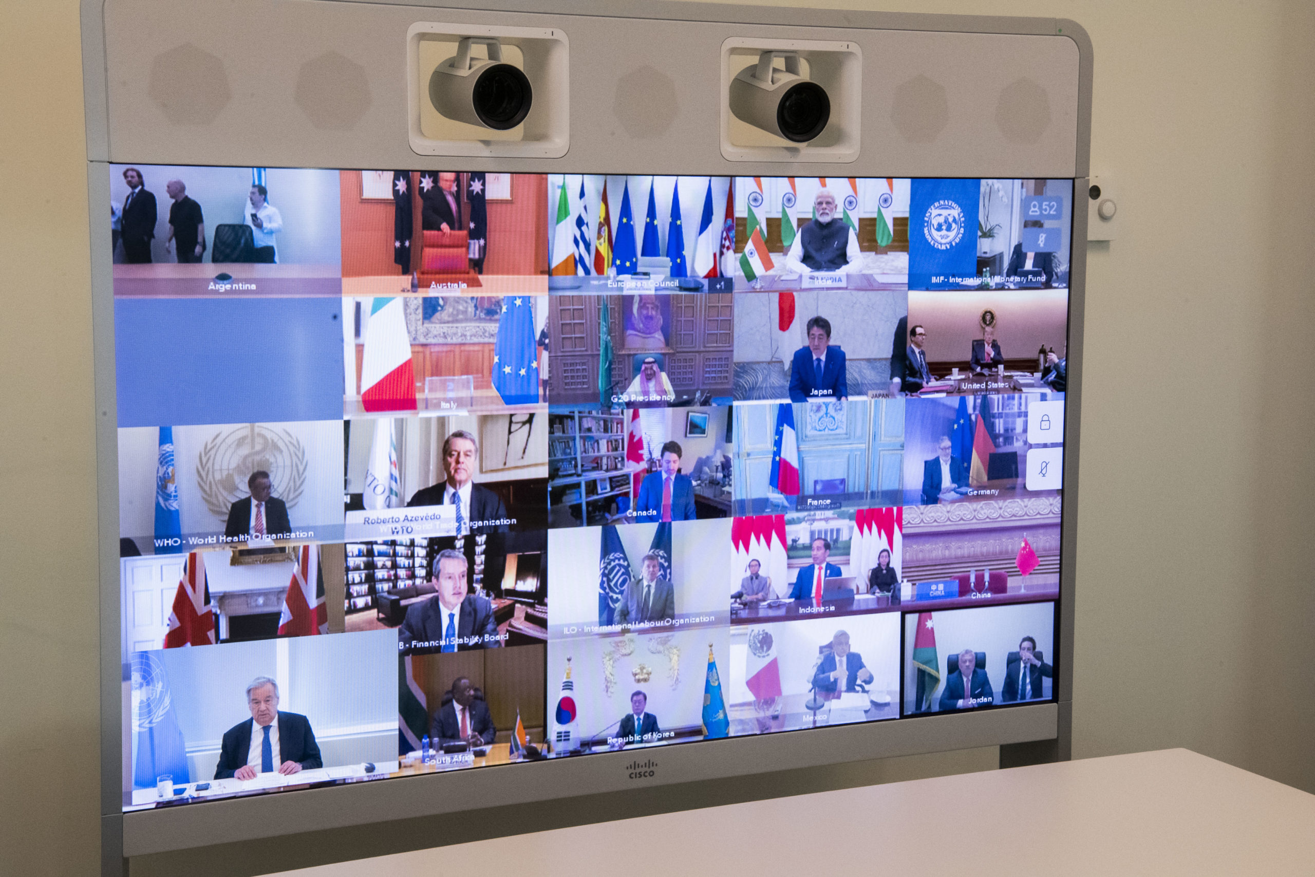 A view of the screen in the Secretary-General António Guterres' conference room as he takes part in the extraordinary Virtual Leaders' Summit of the Group of Twenty (G-20) on the Covid-19 Pandemic. Credit: UN Photo/Evan Schneider