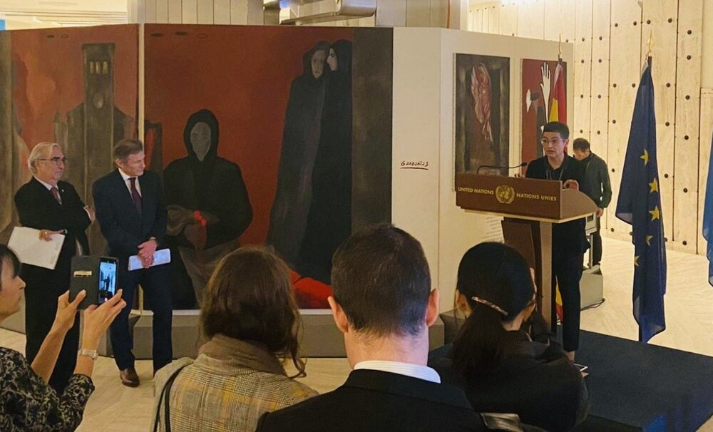 Inauguration of the exhibition of Sofia Gandarias' work on Gernika on 24 February 2020 at Palais des Nations, Geneva - An exhibition promoted by UPEACE as part of its Anniversary celebrations. © UPEACE.