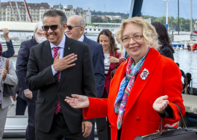 Tatiana Valovaya, Director General of the United Nations Office in Geneva and Dr. Tedros Adhanom Ghebreyesus, Director General of the WHO at the ceremony for the reopening of the Jet d Eau, which had been shut down since 20 March 2020 due to the pandemic. The shutdown of the Jet d eau was intended to embody the application of the recommended sanitary measures and to protect the employees who manage its proper functioning. Geneva, 11 June 2020. © SIG / Magali Girardin.