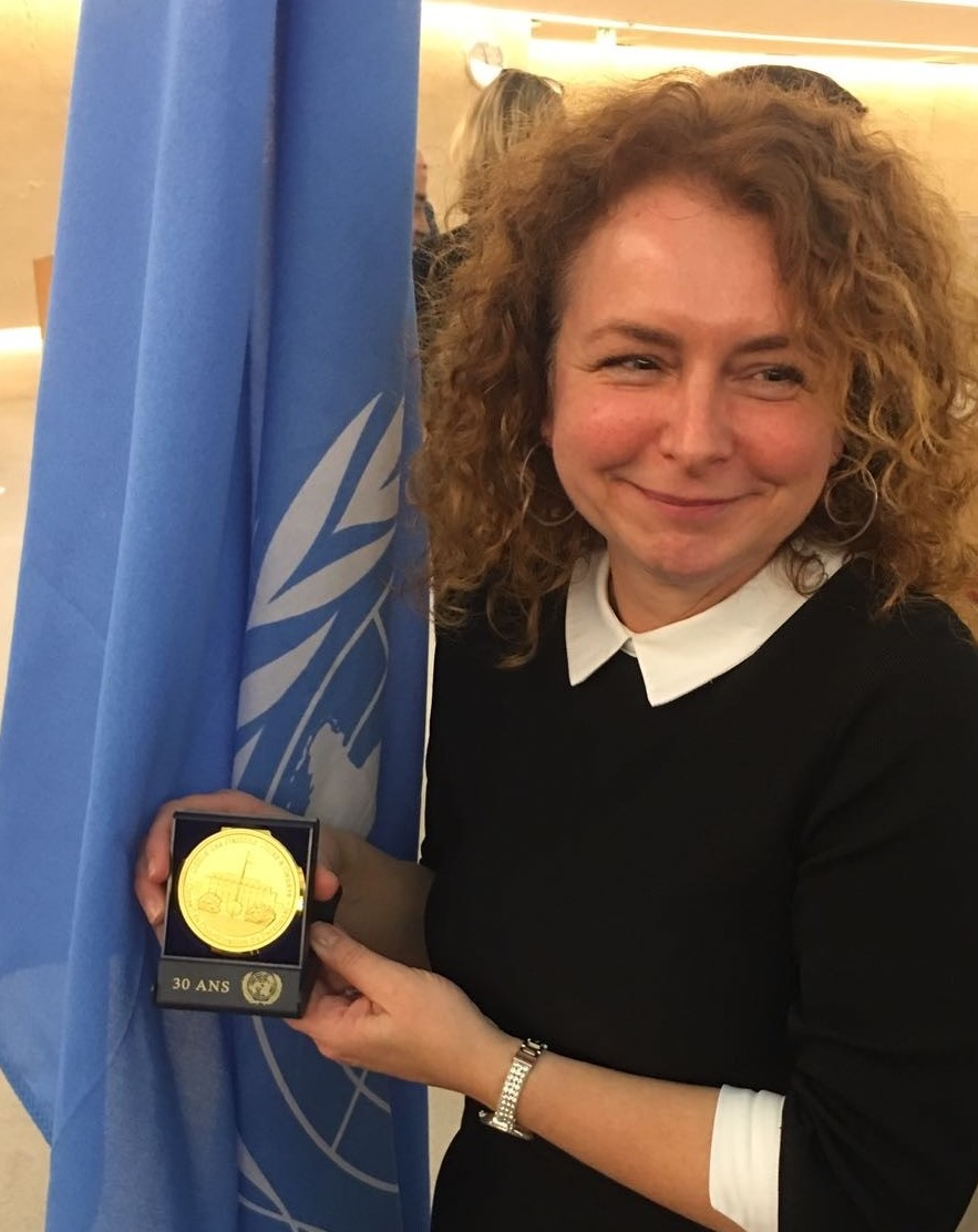 Cathy celebrating 30 years at the UN