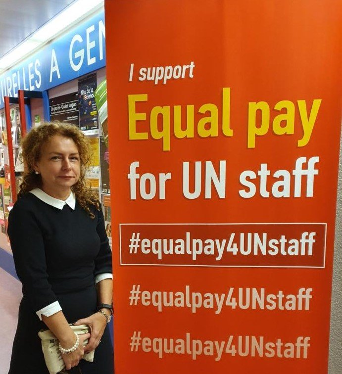 Cathy supporting Equal Pay for UN Staff