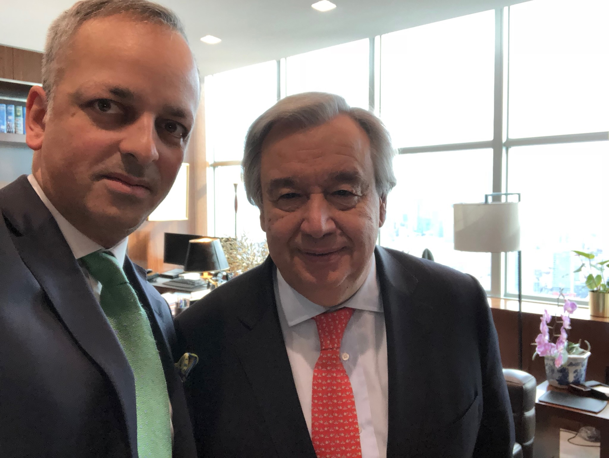 Ian Richards with António Guterres, Secretary-General of the United Nations.  Credit: Ian Richard