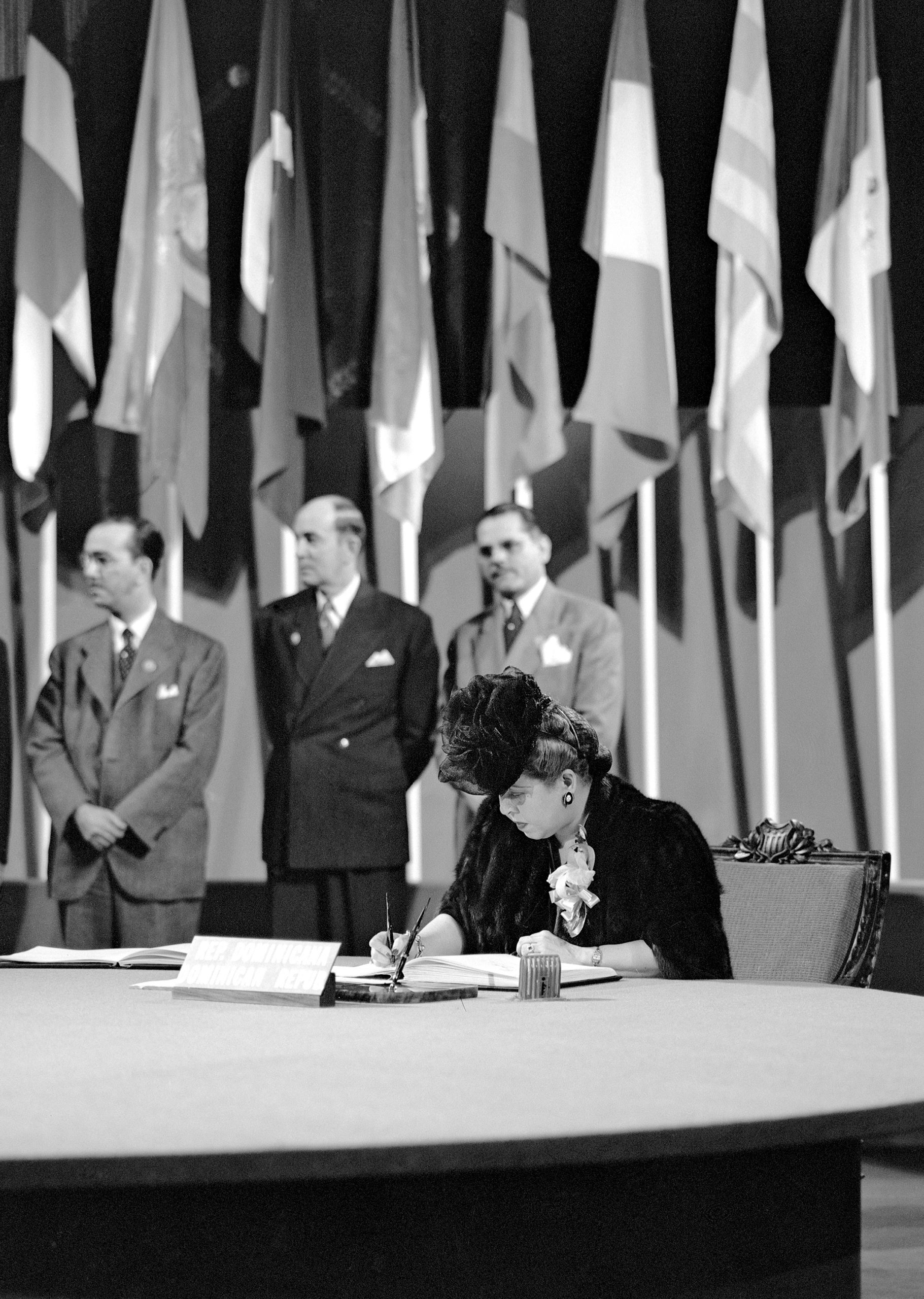 Minerva Bernardino, President of the Inter-American Commission of Women, Delegation from the Dominican Republic signing the UN Charter 26 June 1945
