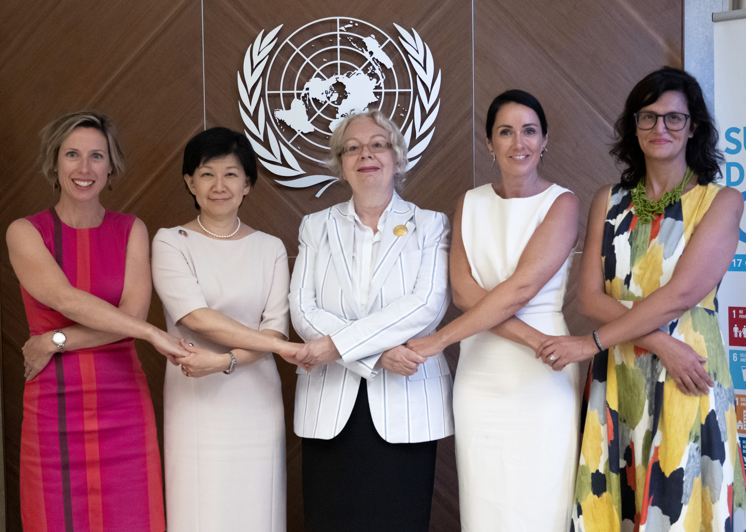 From left to right, Renata Dwan, Director of the United Nations Institute for Disarmament Research (UNIDIR), Izumi Nakamitsu, Under Secretary-General, High Representative for Disarmament Affairs, Tatiana Valovaya, Director-General of the United Nations Office at Geneva, Anja Therese Kaspersen, Director, Office for Disarmament Affairs and Radha Day, Senior Political Affairs Officer, Office for Disarmament Affairs, Secretary of the Conference on Disarmament. 26 August 2019. UN Photo/ Jean Marc Ferré
