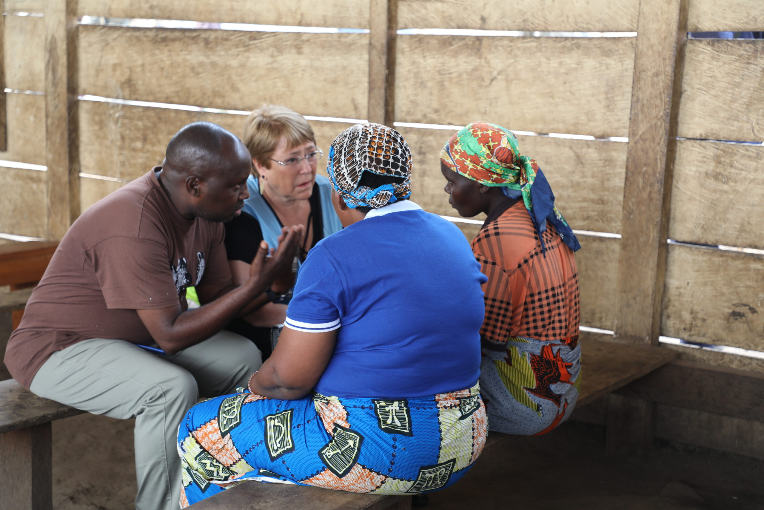 Michelle Bachelet in Bunia, Ituri Province in January 2020 speaking with internally displaced persons. © MONUSCO Photo.