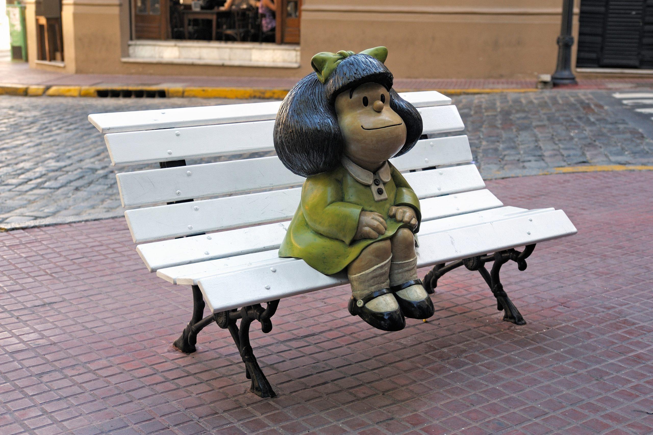 Statue of Mafalda in San Telmo, Buenos Aires, Argentina.