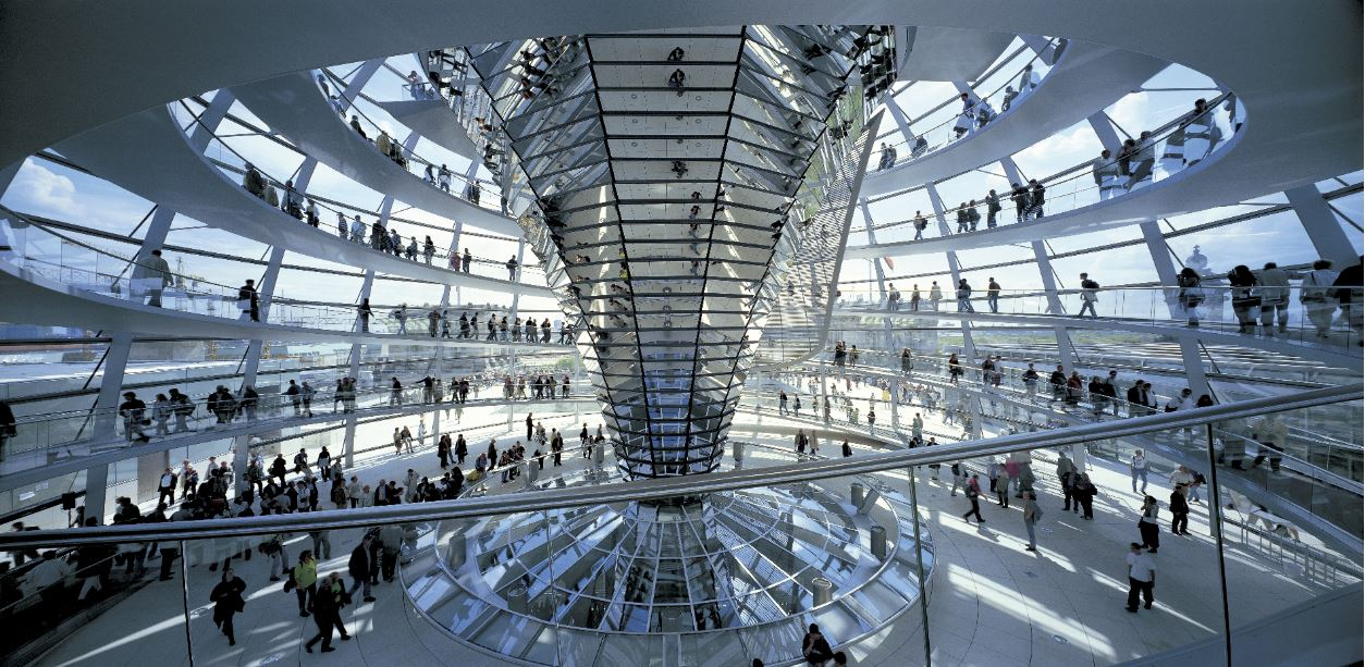 Interior of Reichstag, New German Parliament. Berlin, Germany.