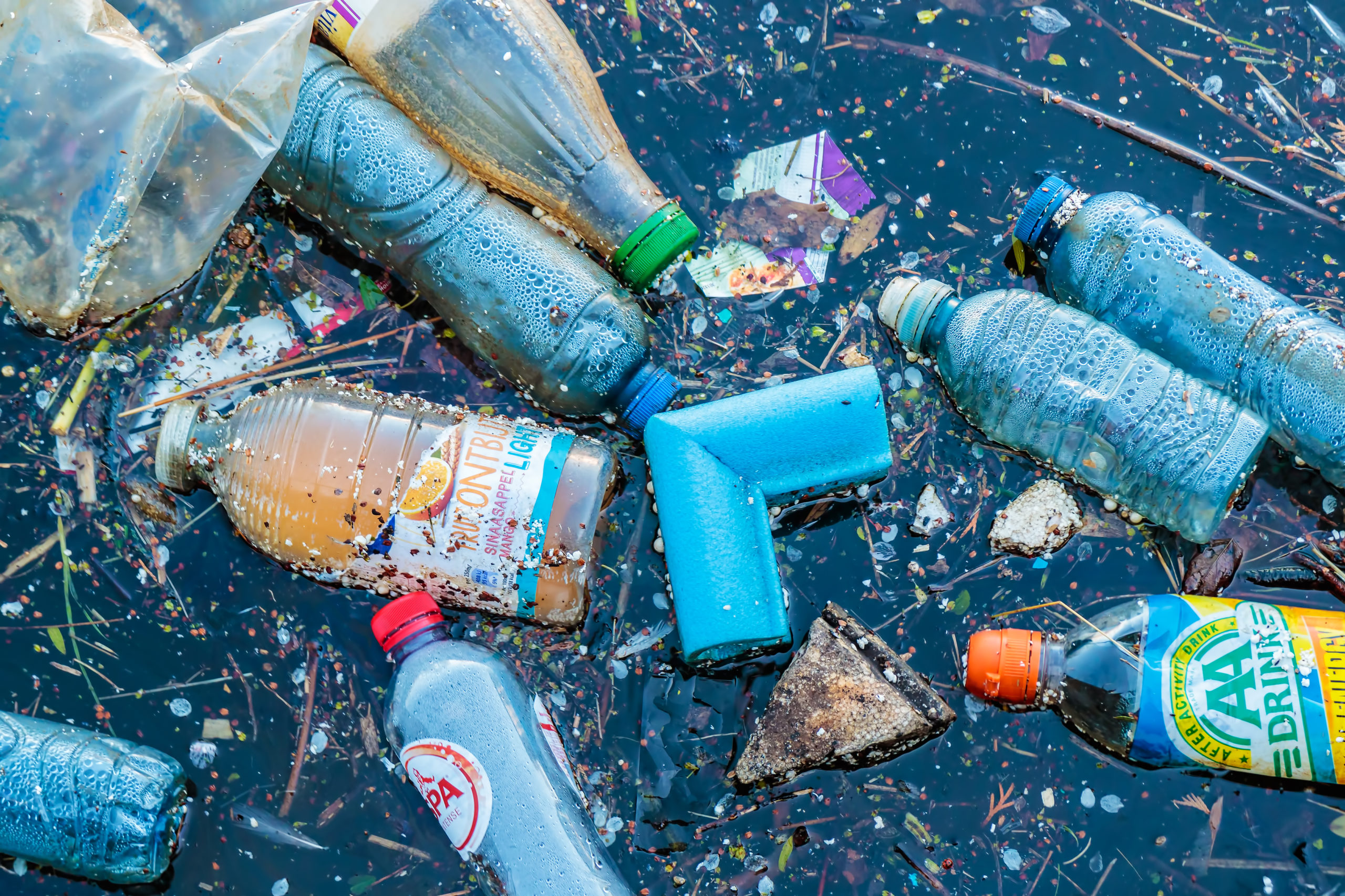 Plastic waste floating in a canal in Amsterdam, The Netherlands.