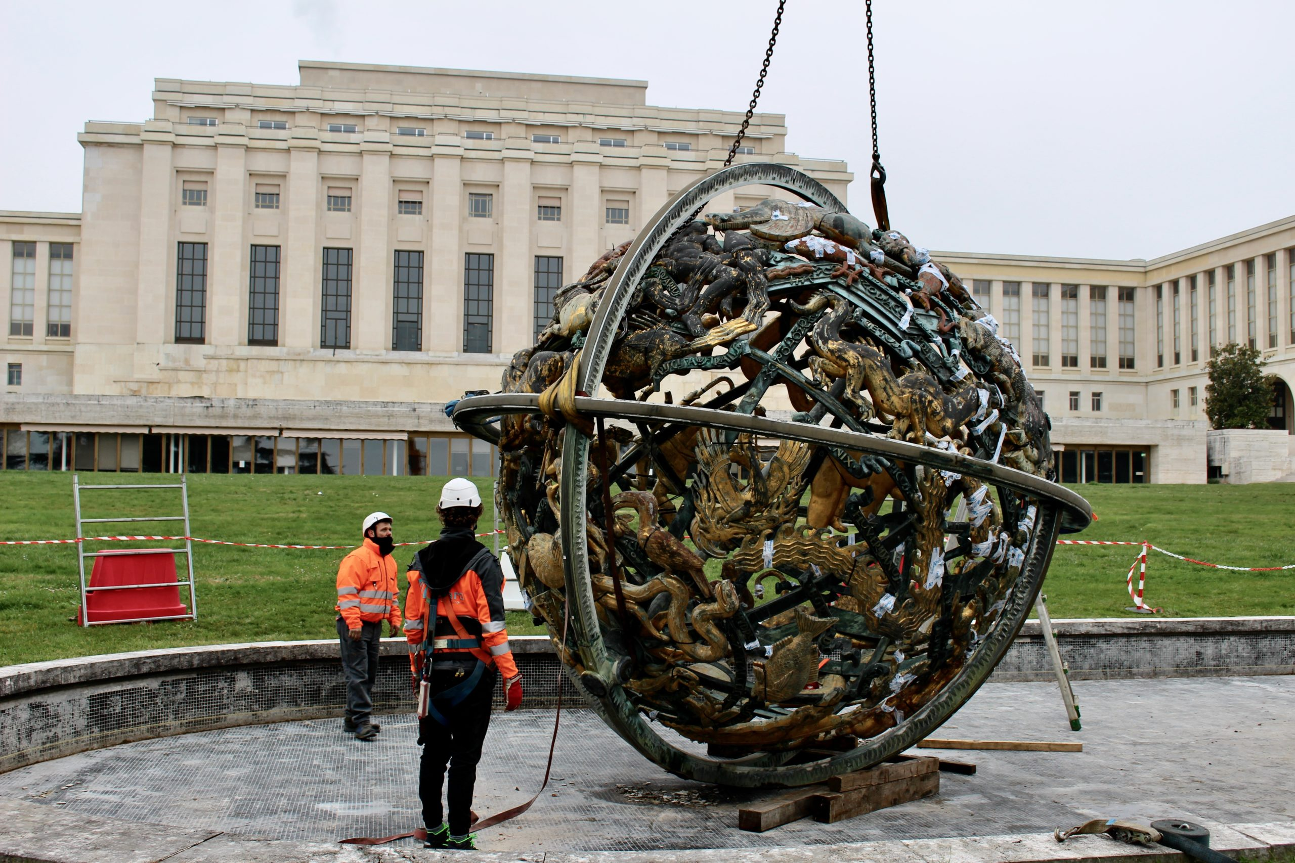 The iconic Celestial Sphere in the Ariana Park has been dismantled & brought to Italy for a complete restoration. © UN PHOTO/HELENA CHAMPENOIS