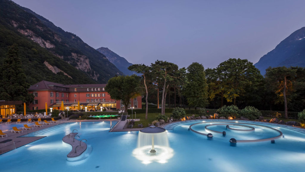 Les Bains de Lavey is located 90 minutes from central Geneva in the canton of Vaud